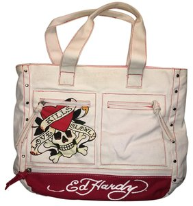 Ed Hardy Satchel in white