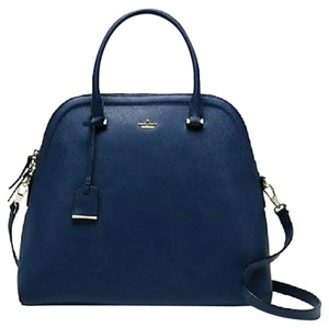 Kate Spade Leather Dome Bookstripe Satchel in Blue