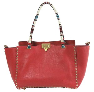 Valentino Rockstud Beaded Tote in Red