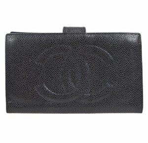 Chanel Chanel quilted black leather fold wallet