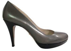 Prada Patent Leather Heels Black and Gray Pumps