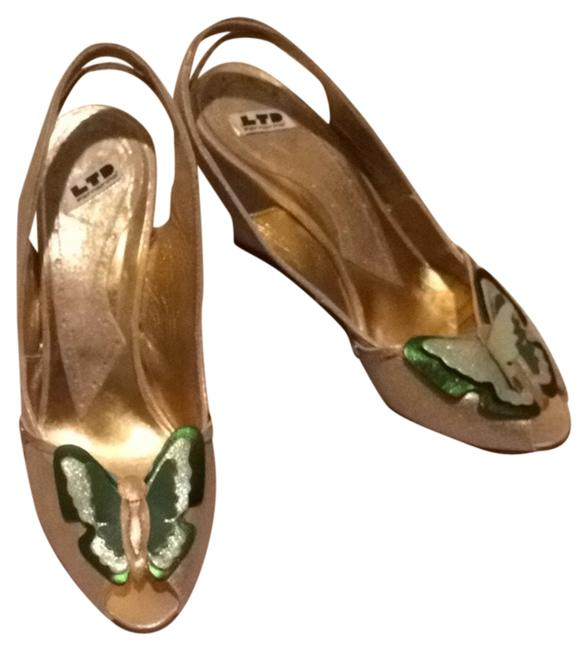 Item - Gold/Green Butterfly Wedges Size US 6 Regular (M, B)