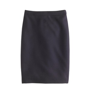 J.Crew Petite Pencil Double-serge Wool Skirt Navy
