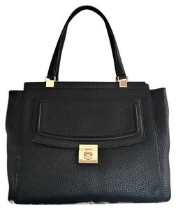 Kate Spade Leather Pebbled Gold Hardware Large Flap Signature Satchel in Black