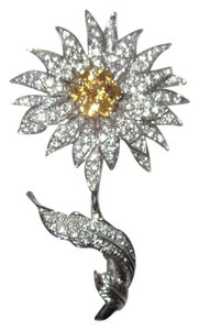 Other Sun Flower Sterling Silver Crystal Encrusted Pin 18g
