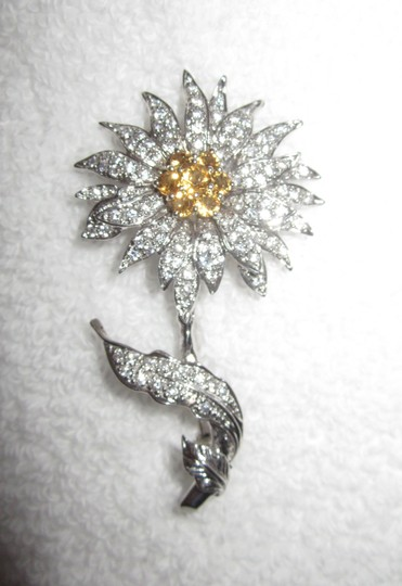 Other Sun Flower Sterling Silver Crystal Encrusted Pin 18g Image 2