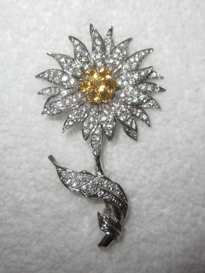 Other Sun Flower Sterling Silver Crystal Encrusted Pin 18g Image 4