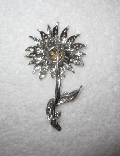 Other Sun Flower Sterling Silver Crystal Encrusted Pin 18g Image 5