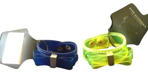 2 Snap Bracelets-1 Blue-1 Neon Yellow Both With Bows-HYPERALLAGENIC