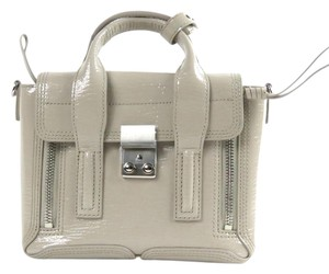 3.1 Phillip Lim Patent Leather Shark-emabossed Satchel in Beige