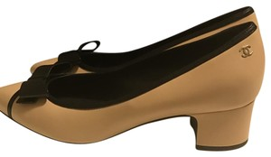 Chanel Black Leather Ankle nude Pumps