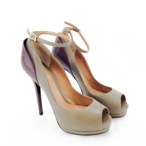 Fendi Leather Lizard Open Toe Ankle Strap Stiletto Taupe and Maroon Platforms