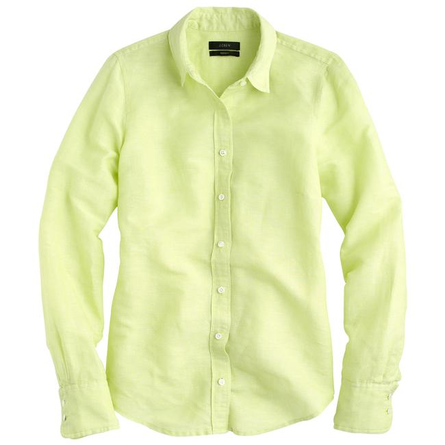 Preload https://img-static.tradesy.com/item/20548683/jcrew-neon-citron-perfect-shirt-in-cotton-linen-button-down-top-size-8-m-0-0-650-650.jpg