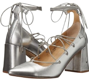 Chinese Laundry Metallic Lace Up Chunky Heel Silver Pumps