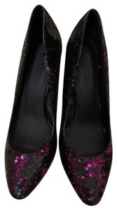 Colin Stuart High Heels Size 8.5 Black with Pink Sequins Pumps