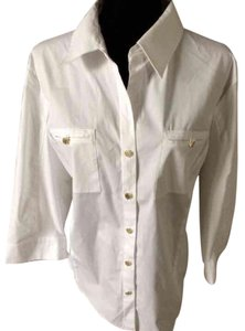 Anne Klein Button Down Shirt White
