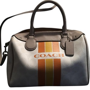 Coach Satchel in White with orange and yellow stripes