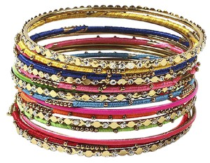 Amrita Singh Noho Gold Crystal Multi Pc Bangle Bracelet Set Bbas 838