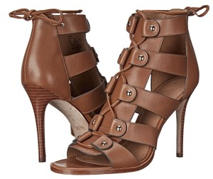 Coach A00828 Leslie Saddle Lace Up Heels Brown Pumps