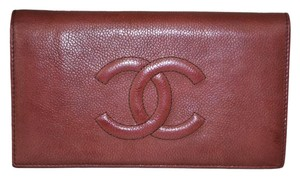 Chanel Chanel Red Caviar Leather Wallet
