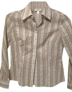 Ann Taylor LOFT Striped Blouse Button Down Shirt White with red and silver stripes
