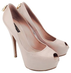 Louis Vuitton Oh Really Leather Lock Peep Toe Pumps Nude Platforms