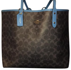 Coach Tote in Gray and light blue on one side, then flip for all light blue outside.