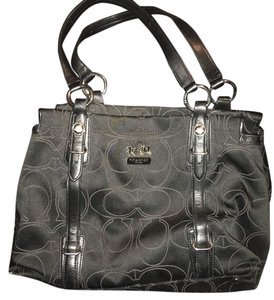 Coach Satchel in Exterior Black, interior beautiful purple