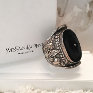 Saint Laurent RARE YSL by Tom Ford Sterling Silver Velvet Runway Cuff