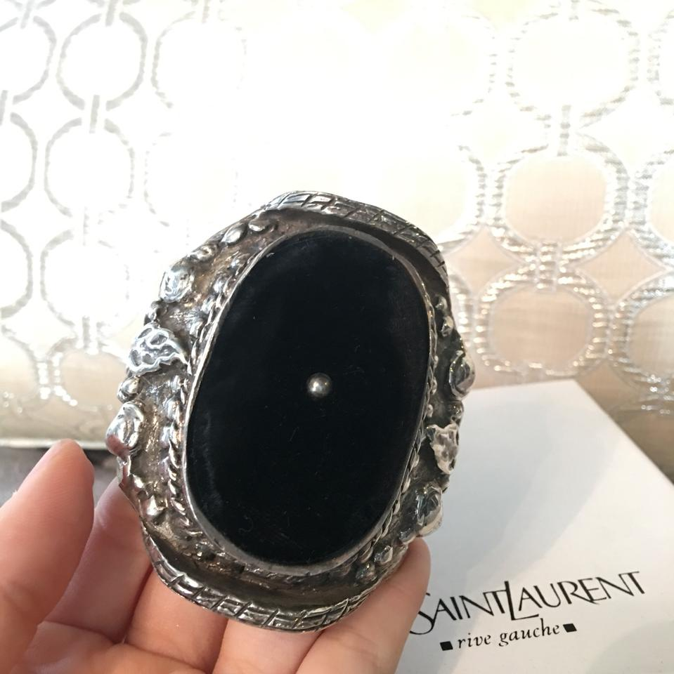 92a977e48f2c Saint Laurent RARE YSL by Tom Ford Sterling Silver Velvet Runway Cuff Image  11. 123456789101112
