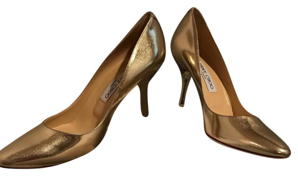 462ac6ac288a Jimmy Choo Gold Choo mei Metallic Gold leather Heels Pumps. Size  US 9 ...