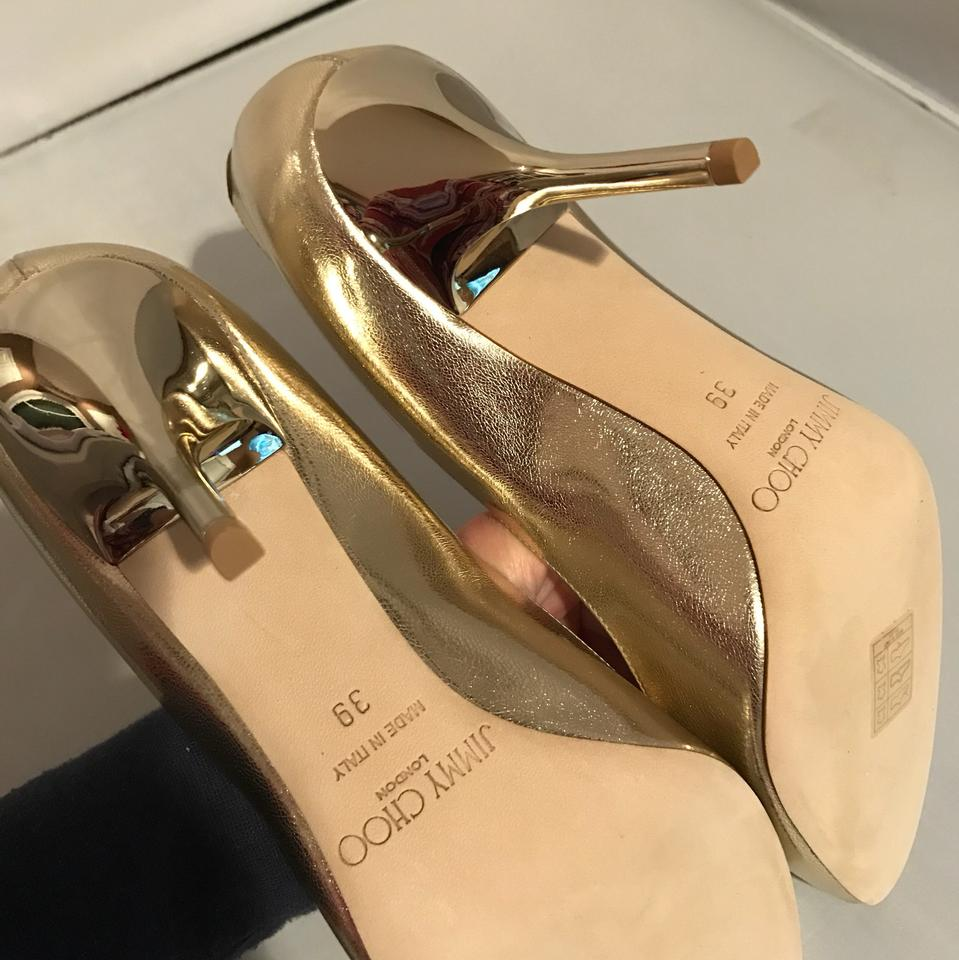 35b33146c464 Jimmy Choo Gold Choo mei Metallic Gold leather Heels Pumps Size US 9 ...