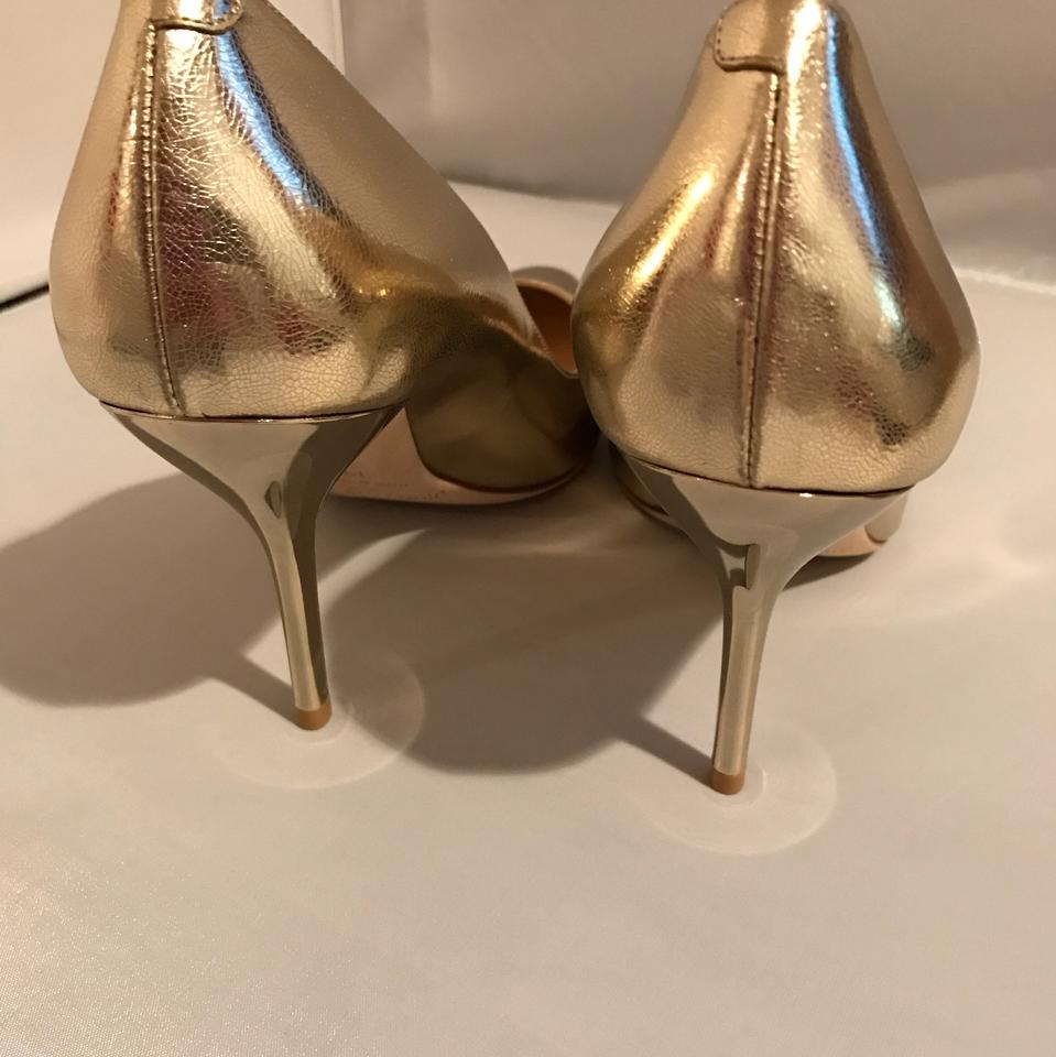 5c6d1cfeb856 Jimmy Choo Gold Choo mei Metallic Gold leather Heels Pumps Size US 9  Regular (M
