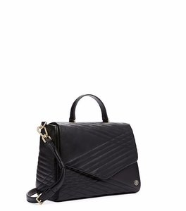 Tory Burch Leather Satchel in Black