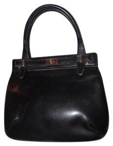 Gucci True 1960's Mod Early Kelly Style Mint Vintage Multiple Compartment Satchel in buttery soft black leather
