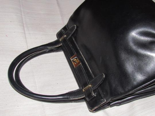 Gucci True 1960's Mod Early Kelly Style Mint Vintage Multiple Compartment Satchel in buttery soft black leather Image 10