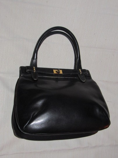 Gucci True 1960's Mod Early Kelly Style Mint Vintage Multiple Compartment Satchel in buttery soft black leather Image 11