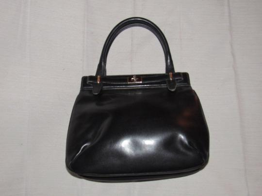 Gucci True 1960's Mod Early Kelly Style Mint Vintage Multiple Compartment Satchel in buttery soft black leather Image 5