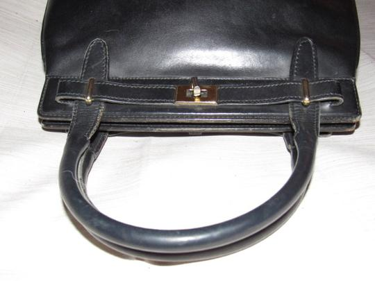 Gucci True 1960's Mod Early Kelly Style Mint Vintage Multiple Compartment Satchel in buttery soft black leather Image 7