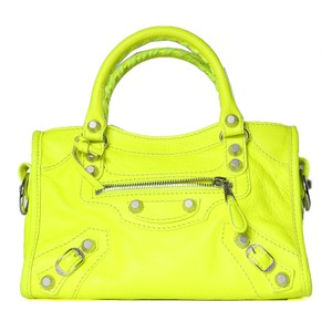 Balenciaga Leather Tote in Neon Yellow