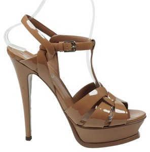 Saint Laurent Tribute 37.5 Platform Ankle Strap Nude Sandals