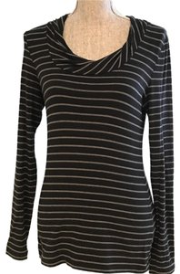 Banana Republic Top Black and Gray Stripe