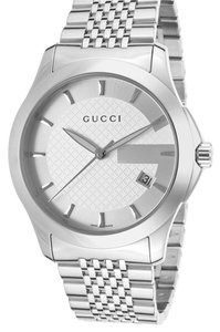 Gucci Gucci Men's G-Timeless Stainless Steel Silver-Tone Dial