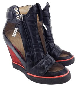 L.A.M.B. Sneakers High Top Stephanie Leather Velcro Black and Red Wedges