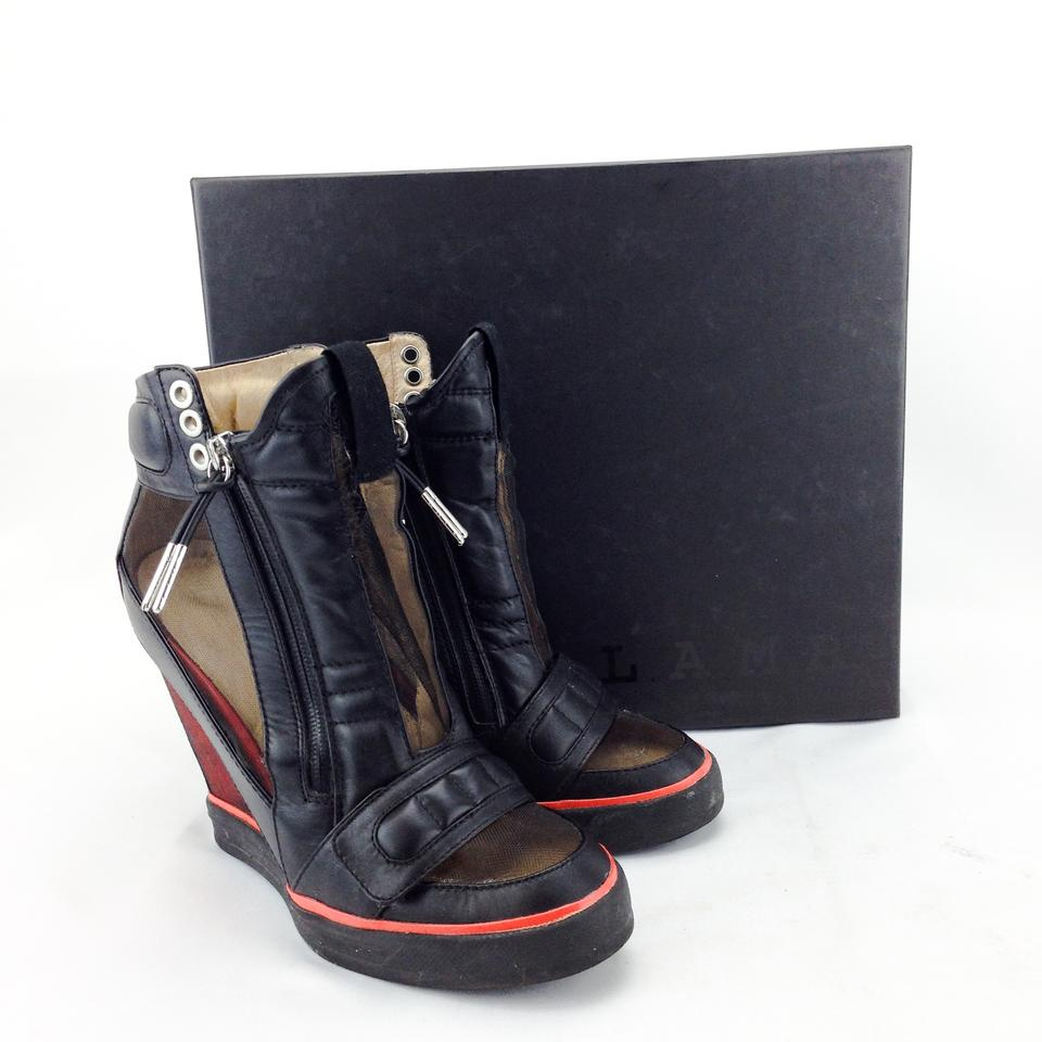 280154551a54 L.A.M.B. Sneakers High Top Stephanie Leather Velcro Black and Red Wedges  Image 6. 1234567