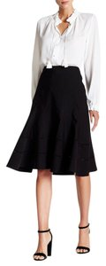 Nanette Lepore Eyelet Trim Seam Detail Skirt Black