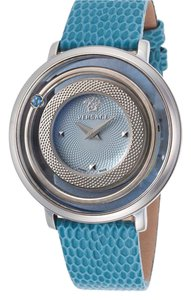 Versace Collection Versace Women's Venus Blue Genuine Leather and Dial Stainless Steel