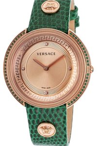 Versace Versace Women's Thea Diamond Green Genuine Lizard Rose-Tone Dial and SS
