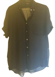 Theory Sheer Collared Button Down Shirt Black