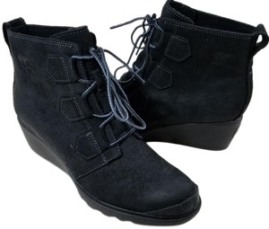 Sorel Lace-up Waterproof Wedge Oiled-suede Pull Tabs Black Boots